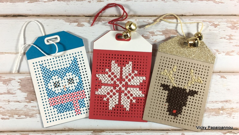cross stitched gift tags