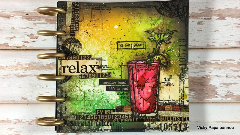 Art journal relax clips n cuts my focal point is a bloody mary cocktail and its from the tim holtz cocktails blueprint sbc sss stamp set malvernweather Choice Image