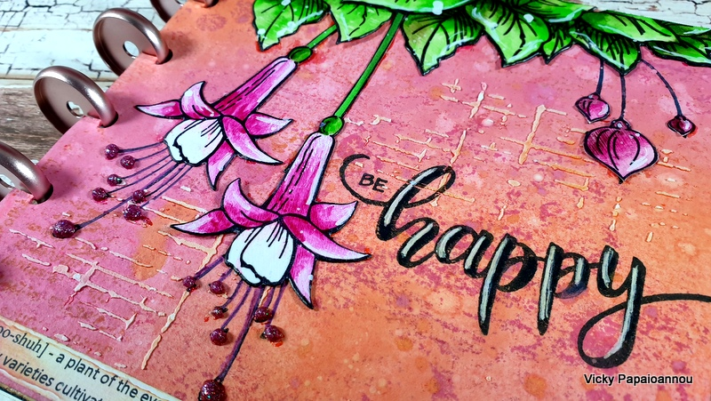 art journal fuschia flowers